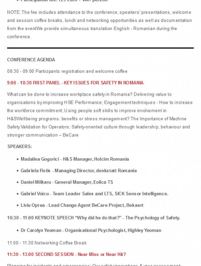 SAVE THE DATE! Romanian Health & Safety Management Forum - June 11, 2019 Bucharest
